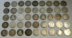 Lot of 45 - Silver Seated Liberty Dimes - 1837-1891 - 10¢