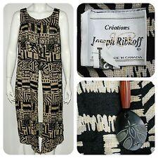 JOSEPH RIBKOFF stylish black & beige long tunic top w/ wooden necklace - M