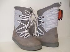 Lugz Womens Thora Suede Slip On Lace Up Winter Boots M Grey/ Glacier Size 9 M