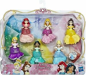Disney Princess Rainbow Collection 6 Doll Play Set Royal Clips New Kids Toy 3+