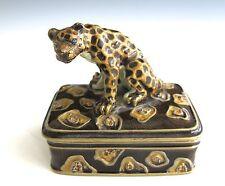 Enamel Cheetah Trinket Box Great Condition (#754)
