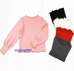 Girls Top Autumn Long Sleeve Blouse School Cotton Ruffled Sleeve Age 2-12 years