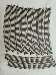 """LOT of (10) PIECES ATLAS #512 CODE 83 18"""" RADIUS CURVE TRACK N/S - NEW LOOSE"""