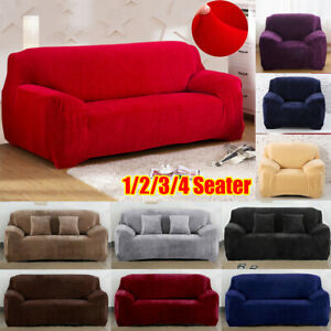 Thicken Plush Universal Sofa Cover 1/2/3/4 Seater For Pets Kids Home Living Room