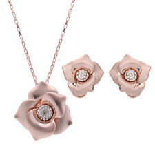 Clear Rhinestone Rose Gold Plated Earrings Pendant Necklace Flower Jewelry Set
