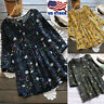 Women's Long Sleeve Cotton Floral T-Shirt Tops Blouse Summer Plus Size Frill Tee
