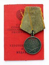 Original Soviet SILVER Medal For Battle Merit Combat Service Army #2.468.720 DOC