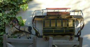 Vintage Metal Wall Art Horse With Tram Design Ornament Art Home Farm Cottage