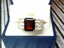 925 Sterling Silver & Gold Vermeil Ring W/ Red Stone & Clear Accents Size 7.5