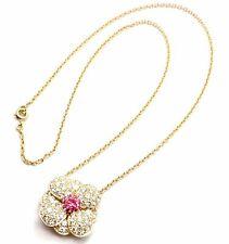 Authentic! Van Cleef & Arpels 18k Gold Diamond & Pink Sapphire Flower Necklace