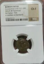 Constantine II AD337-340 Caeser/Standards. Roman Empire.  NGC CH F