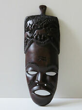 WOODEN MASK HAND CARVED SOLID EBONY- WOODEN AFRICAN MASK WALL HANGING FIGURES