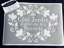 Pochoir Adhésif Réutilisable 30 x 20 cm Affiche Côté Jardin Vintage / Made in FR