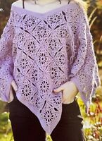 Ladies Poncho Style Crochet Pattern One Size DK  BR574