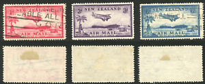 New Zealand Stamps Scott# C6-C8, SG 570-572, Airmail 1935, C6 and C8 used, C7 MH