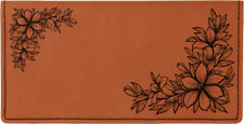 Floral Filigree Laser Engraved Leather Checkbook Cover