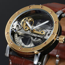 Transparent Brown Automatic Mens Watch Golden Vintage Design Leather Strap Man