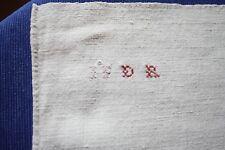 Nappe 52 ancienne en chanvre et lin  134 x 106 cm liteaux bon état