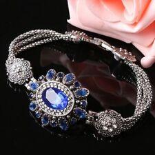 Style Thai Silver Charm Vintage Retro Blue Flower Bracelet Rhinestone Crystal