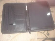Gemline Faux Leather Zippered Padfolio With Pockets Black With Screwdriver