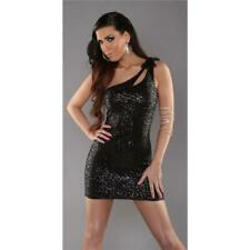 Sexy One Shoulder Mini Dress with Sequins Wetlook Party Black 34/36/38 #MK1935