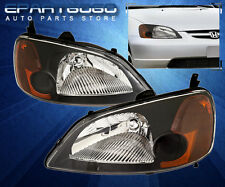 2001 2002 2003 HONDA CIVIC 2/4DR JDM CRYSTAL BLACK AMBER HEADLIGHTS COUPE SEDAN