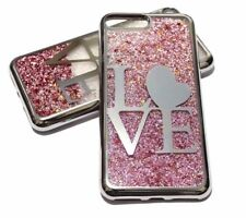 For iPhone 7 PLUS 8 PLUS SILVER LOVE Pink Glitter Stars Liquid Water Case Cover