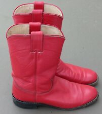 Justin Ropers Womens Sz 6.5 B Round Toe Red Leather Western Cowboy Boots L3055
