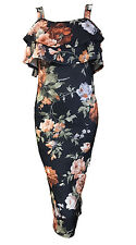 1s Womens Sleeveless Floral Bodycon Cocktail Ladies Pencil Strappy Party Dress Black/coral 12