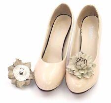 GENUINE LEATHER beige roses shoe clips   Pumps flowers, leather shoe decoration