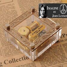 ACRYLIC CUBIC GOLD WIND UP MUSIC BOX : IMAGINE @ JOHN LENNON