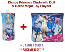 Disney Princess Cinderella Doll & Horse Major Toy Playset - YOU GET BOTH!!