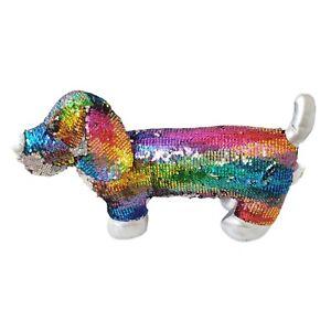 """Dan Dee Dachshund Sequin Flip Rainbow Weiner Puppy Dog Stuffed Plush Toy 18"""""""