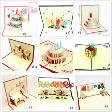 3D Pop up Greeting Happy Birthday Cards Anniversary Wedding Card Postcard Gift