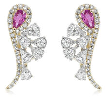 14K YELLOW GOLD DIAMOND PEAR HALO PINK SAPPHIRE LEVERBACK DANGLE EARRINGS