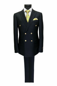 PAMONI Navy Double Breasted Suit With Gold Button
