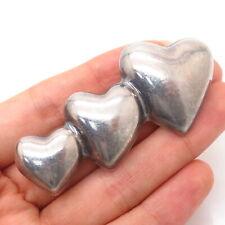 Heart Design Bar Pin Brooch 925 Sterling Silver Vintage Hollow Triple