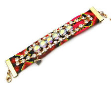 "1"" Wide Multi-Colored Macrame Bracelet With Clear and AB Rhinestones"