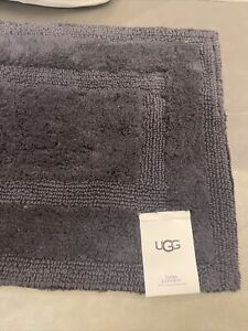 NWT UGG EMMA Succulent Muted Gray Black Ocean Reversible Cotton Bath Rug 20x32