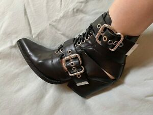 Very cool Jeffrey Campbell black buckled booties w stacked heel - worn once