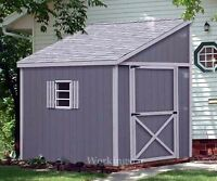 6' x 10' Slant / Lean To Style Shed Plans / Building Blueprints & Guides # E0610