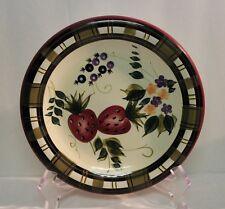 "Oneida ""Strawberry Plaid"" 8"" diam Salad Plate Handpainted EUC"