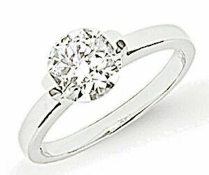 Solitaire Ring Sterling Silver Engagement Ring Platinum Plated Size P RRP £69