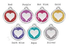 Heart Glitter Enamel/Solid Stainless Steel Engraved ID Dog/Cat Tag