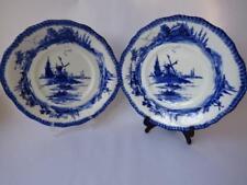 Pair Of Royal Doulton Blue & White Plates Norfolk Pattern