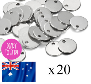 20 Stainless Steel 12mm Disk Tag Blank Engraving Stamping Charm Charm FREE POST