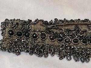 Antique beaded trim piece Very Ornate costume project piece