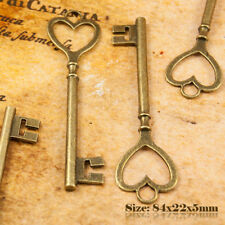 2 Antique Bronze Vintage Style Heart Shape Key Charms Pendant 007