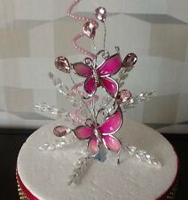 STUNNING WEDDING/CAKE DECORATION PINK/PEARL & CRYSTAL BUTTERFLY/CAKE TOPPER