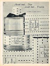 PUBLICITE ADVERTISING   1962   DIOR  eau de Cologne femme FRAICHE